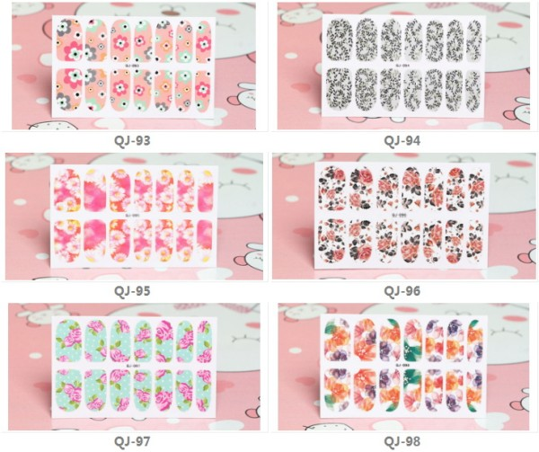 QJ093-107  14Tips/Pc Colorful Flower Design Full Cover Nail Art Sticker