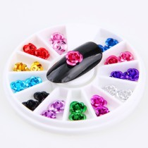 1Pcs  3D Metal Aluminum Rose Flower 24 pcs/wheel 12 Colors Mixed Nail Art