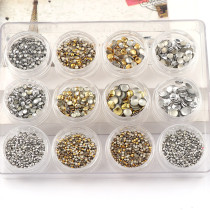 New 12Pcs/Set 100*130MM Punk Rivet Nail Tips Gold Silver Mixed Metal Nail Art Tips Fashion Metallic Studs Stickers New Fashion