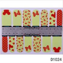 D1024-D1040  14Tips Colorful Butterfly Full Cover Nail Art Sticker