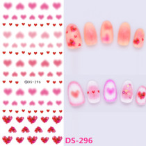 DS295-297 Pink Heart Pattern Cartoon Series Water Nail Stickers