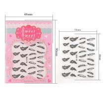 1Pc Feather Design 4 Colors Black Silver Stereoscopic Nail Sticker