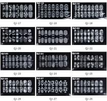 QJ-17-32 16Tips White Lace Diamond Flower Nail Art Tips Sticker