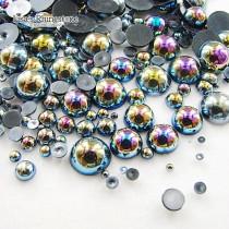 1000pcs/Bag Mix Sizes AB Color Half Round bead imitation ABS Flat back Pearl