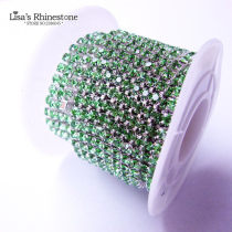 2017 New Style 1 Meter Close Silver Base Light Green Crystal Glass SS6 SS12 Sew On Rhinestone Chain For DIY Beauty Accessory,Nail Art