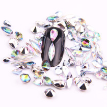 100pcs Acrylic White AB And Red Multicolored Nail Art Pointback Rhinestone