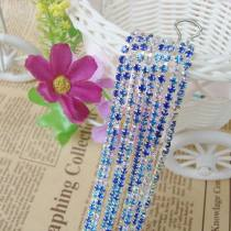 2017 New Style 1 Meter Rhinestone Chains Mix Deep Blue/Light Blue/Crystal AB Color Silver Plated Base For DIY Beauty Accessory,Nail Art