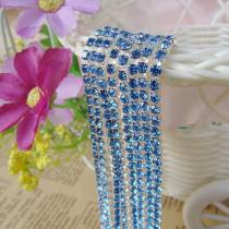 2017 New Style 1 Meter Close Silver Base Light Blue Crystal Glass SS6 SS12 Sew On Rhinestone Chain For DIY Beauty Accessory,Nail Art