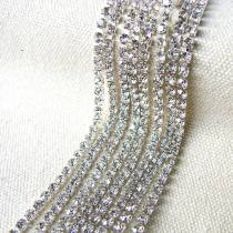 2017 New Style 1 Meter Close Silver Base Clear Crystal Glass SS6 SS8 SS10 SS12 Sew On Rhinestone Chain For DIY Beauty Accessory,Nail Art