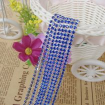 wholesale SS6,SS12 Sapphire Blue Silver Base Close Rhinestone Chain For DIY Wedding Dress Beauty Accessories Nail Art