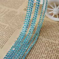 wholesale SS6,SS12 Aquamarine Silver Base Close Rhinestone Chain For DIY Wedding Dress Beauty Accessories Nail Art