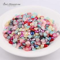 14mm Heart Imitation Pearls Half Round Shape