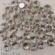 Hot Sale 36pcs Round Crystal Clear Color Sew On Rivoli Tip Crystal Fancy Stone With Claw Setting 11mm For Jewelry,Garment use