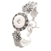 New 1 Piece Interchangable Fit 18mm Snap Buttons Carve Flowers OT Clasp Rhinestone Vintage Bracelets&Bangles DIY Jewelry Charm Bracelets