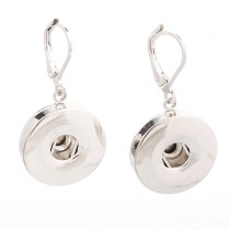 New 1 Pair  European and American Fashion Interchangeable Silver Snap Buttons Earrings  18 mm Ginger Snaps Button DIY Earring Jewelry
