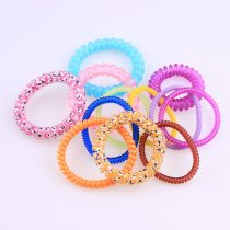 New 6pcs Plastic Telephone Wire Line 4 Kinds Style Mix Color Hair Ring Elastic DIY Hair Band Women Accessories Decoration