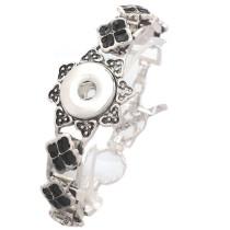 New 1 Piece Black Enamel Flower Interchangable Fit 18mm Snap Buttons OT Clasp Vintage Bracelets DIY Jewelry Charm Bracelets&Bangles