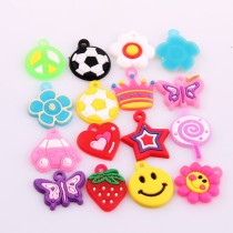wholesale New 10pcs 20-25mm Mixed Designs Hand-Knitted Bracelet Rubber Loom Bands Charms Pendants For Kids DIY Loom Bracelets Key Chains