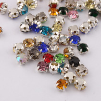 Mixed Size Sew-On Round Claw rhinestones Silver Base Stones Mix Colors rhinestones for DIY wedding dress decoration