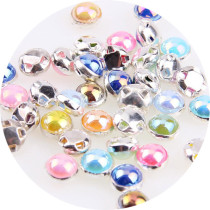 72Pcs  8mm ABColor pearls Silver Edge Pearl buttons