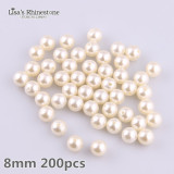4mm-30mm  0.5kg Ivory Straight Holes  Round Imitation Plastic Pearl Beads