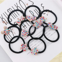 New 10pcs Mix style heart star bow Logo Lips Headwear Fashion Ring Cute hair rope multicolour Rhinestone DIY Kids Hair accessory