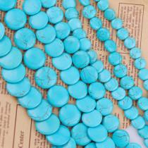 練りターコイズ Howlite Round Disk Loose Spacer Seed Stones Beads
