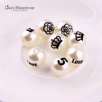 20Pcs 16mm ABS Ivory Color LOGO Love,Rose,Crown,
