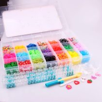 wholesale High Quality Mix Color Rubber Bands Set Fun Loom Bands Kit For DIY Kids Bracelet Charms,1 Plastic Box+Hook+S-clip+Loom