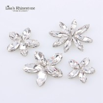 Hot Sale D-Type Crystal Clear Navette White K Rhinestone Sew On Stone With 4 Holes Claw setting Horse eye DIY for Dress Accessories