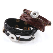 New 1 Piece  Wide Braided Rope Interchangable Metal Fit 18mm Snap Buttons Bracelets DIY Snaps Button Jewelry Charm Bracelets&Bangles