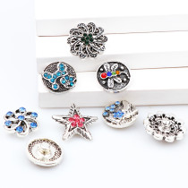 2017 New 6pcs High Quality Crystal Dog&Flower&Star&Dragonfly Glass Metal Snaps buttons DIY Snap Charms Jewelry Bracelet&Bangle