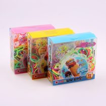 wholesale New High Quality Mix Color Rubber Bands Set Fun Loom Bands Kit For DIY Kids Bracelet Charms,1 Small Box+Hook+S-clip+Loom