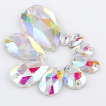 2017 New Shiny 10x14mm~22x38mm Waterdrop Crystal Clear AB Sew On Stone 2 holes Sewing Glass Rhinestone DIY Wedding Dress