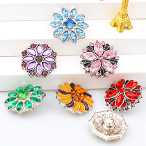 2017 New 6pcs High Quality Crystal Mixed Color Flower Glass Metal Snaps buttons DIY Snap Charms Jewelry Bracelet&Bangle