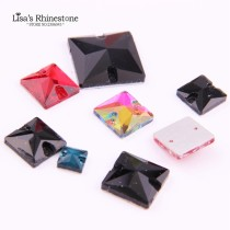 wholesale  Mixed Size Sewing Square Rhinestone Glass Sew On Flatback 2 Holes Crystal Stones Clothe For DIY Wedding Dresses