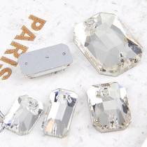2017 New Crystal Clear Rectangle Octagon 2 holes Flat Back Stones  Sew On Rhinestone For DIY Wedding Dress Decoration
