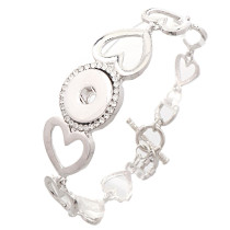 New 1 Piece Interchangable Love Heart Fit 18mm Snap Buttons OT Clasp Rhinestone Vintage Bracelets&Bangles DIY Jewelry Charm Bracelets