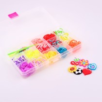 wholesale New Trendy Gift Colorful Loom Bands Kits Elastic Rubber Bands DIY Bracelets Bangle Children, clear PVC strong plastic box