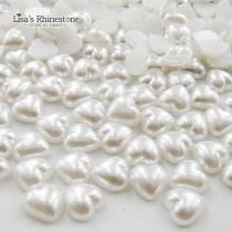 Heart Shape Pure White Imitation Pearls Half Round Flatback  Beads