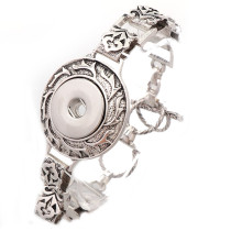 New 1 Piece  Interchangable Fit 18mm Snap Buttons OT Clasp Carve Flower Vintage Button Bracelets&Bangles DIY Jewelry Charm Bracelets