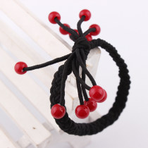 Hot Sale Korean Lovely Red Pearl Circle Cherry Pure Manual Elastic Rope Braid Loom Bands Ligation DIY Hair Decorate Accessories