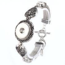 New 1 Piece Interchangable Fit 18mm Heart Snap Buttons OT Clasp Vintage Snaps Button Bracelets&Bangles DIY Jewelry Charm Bracelets
