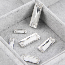 2017 New 50pcs 7x21mm Rectangle Baguette Crystal Clear 2 holes Flatback Sew On Stones Sewing Glass Rhinestone DIY Wedding Dress
