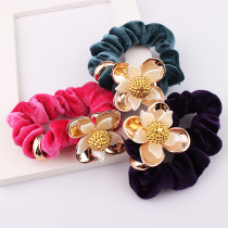 Hot Sale New High-grade Korean Cloth Candy Color Hair Bands Flower Elastic Rope Ponytail Holder Ties DIY Women Girl Hair Accessories