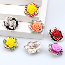 2017 New Fashion 6pcs High Quality Crystal Mixed Rose Flower Glass Metal Snaps buttons DIY Snap Charms Jewelry Bracelet&Bangle