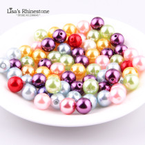 200pcs 6mm  have hole Round Pearl Imitation Glass Beads