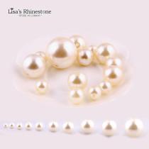 4mm-30mm  0.5kg Ivory Straight Holes  Round Imitation Plastic Pearl Beads