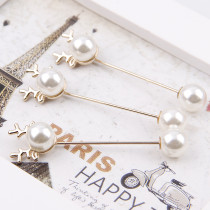 2Pieces  Crystal AB Rhinestone Simulated Pearl Gold Alloy Brooch Pin