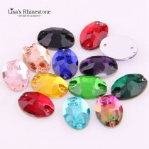 wholesale  14 Pieces 11x16mm Oval Shape Glass Sewing Crystal Flatback 2 Holes Loost Strass Sew On Rhinestones For DIY Women Wedding Dress